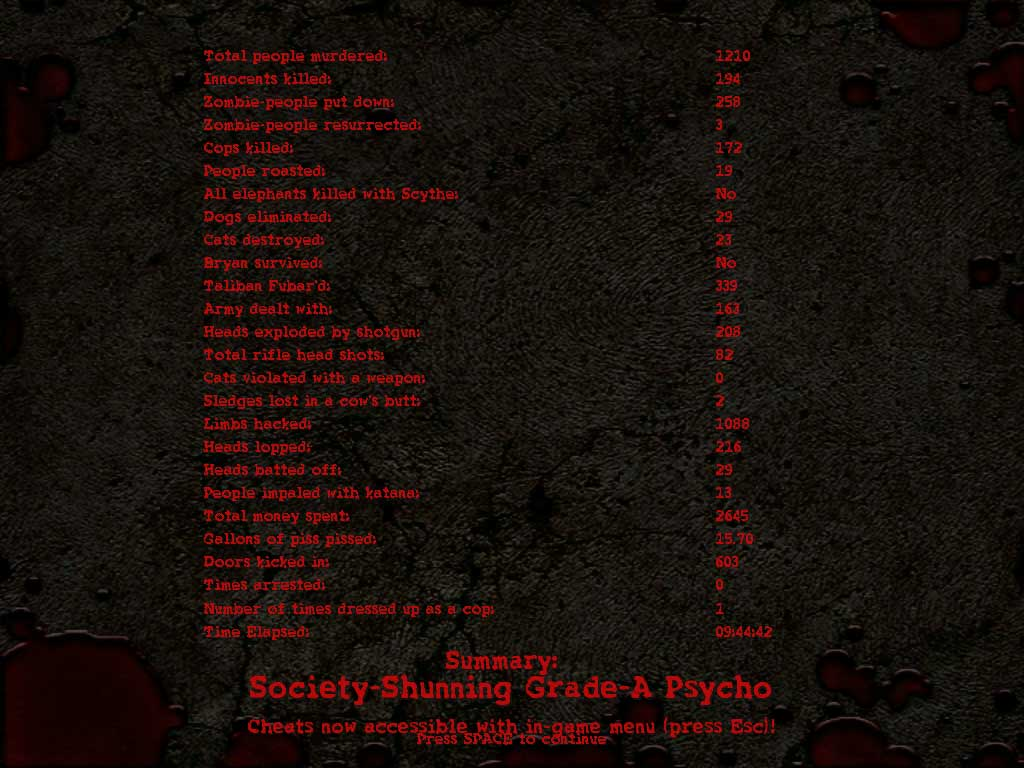 Stats Screen image - AWP (A Week in Paradise) mod for Postal 2